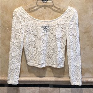 Forever 21 Cream Lace Crop Top NWT